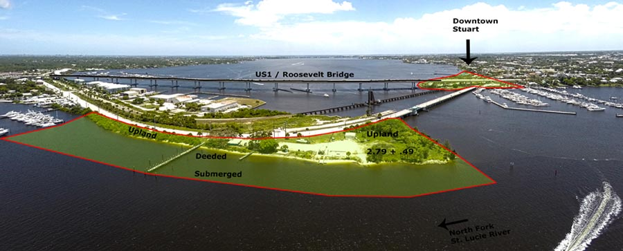 aerial view of waterfront commercial property for sale in florida